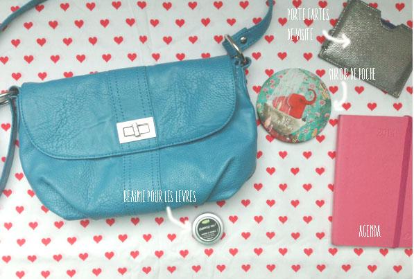 sac bleu cuir vintage